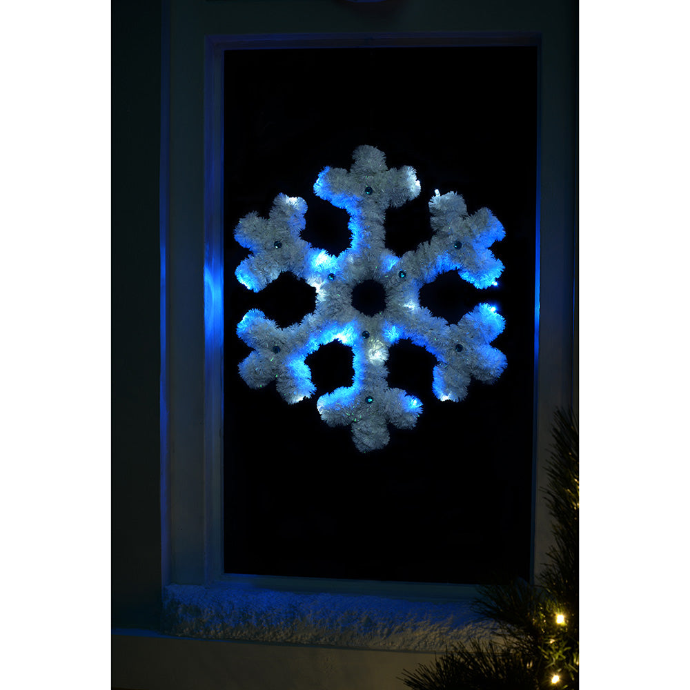 Pre-Lit Tinsel Snowflake Wall Plaque with 20 Bright White and Blue LED Lights, 40 cm