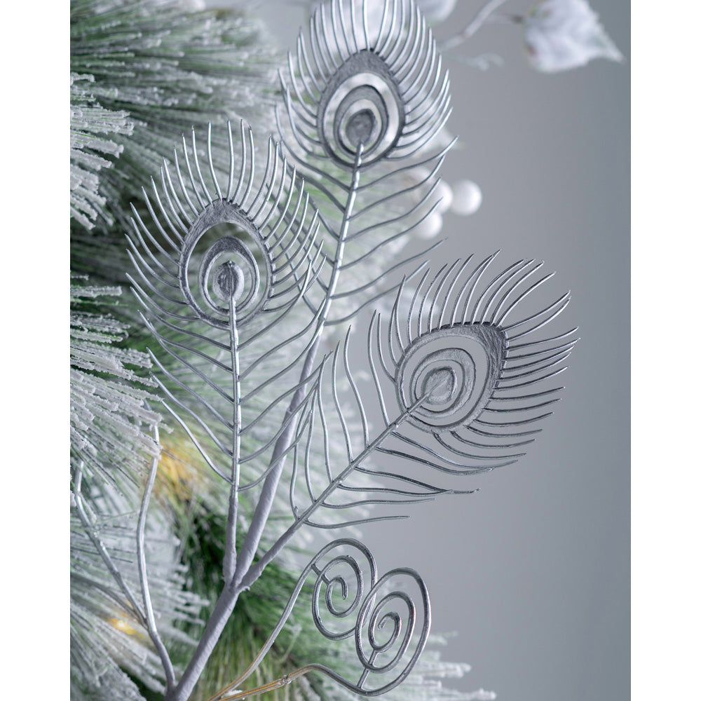 Artificial Pick Christmas Tree Decoration, Long Stem, Silver Leaves, 62 cm