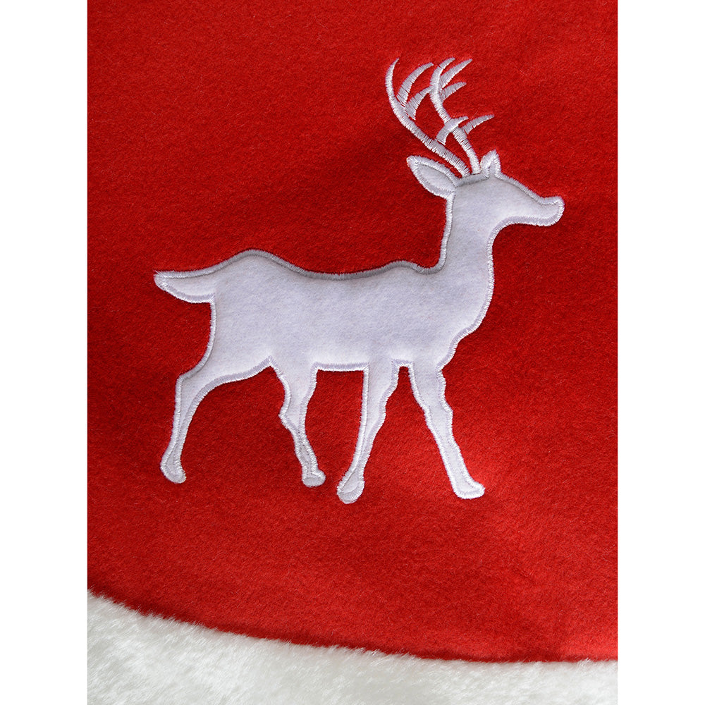 Reindeer Christmas Tree Skirt Decoration, 122 cm - Red/White
