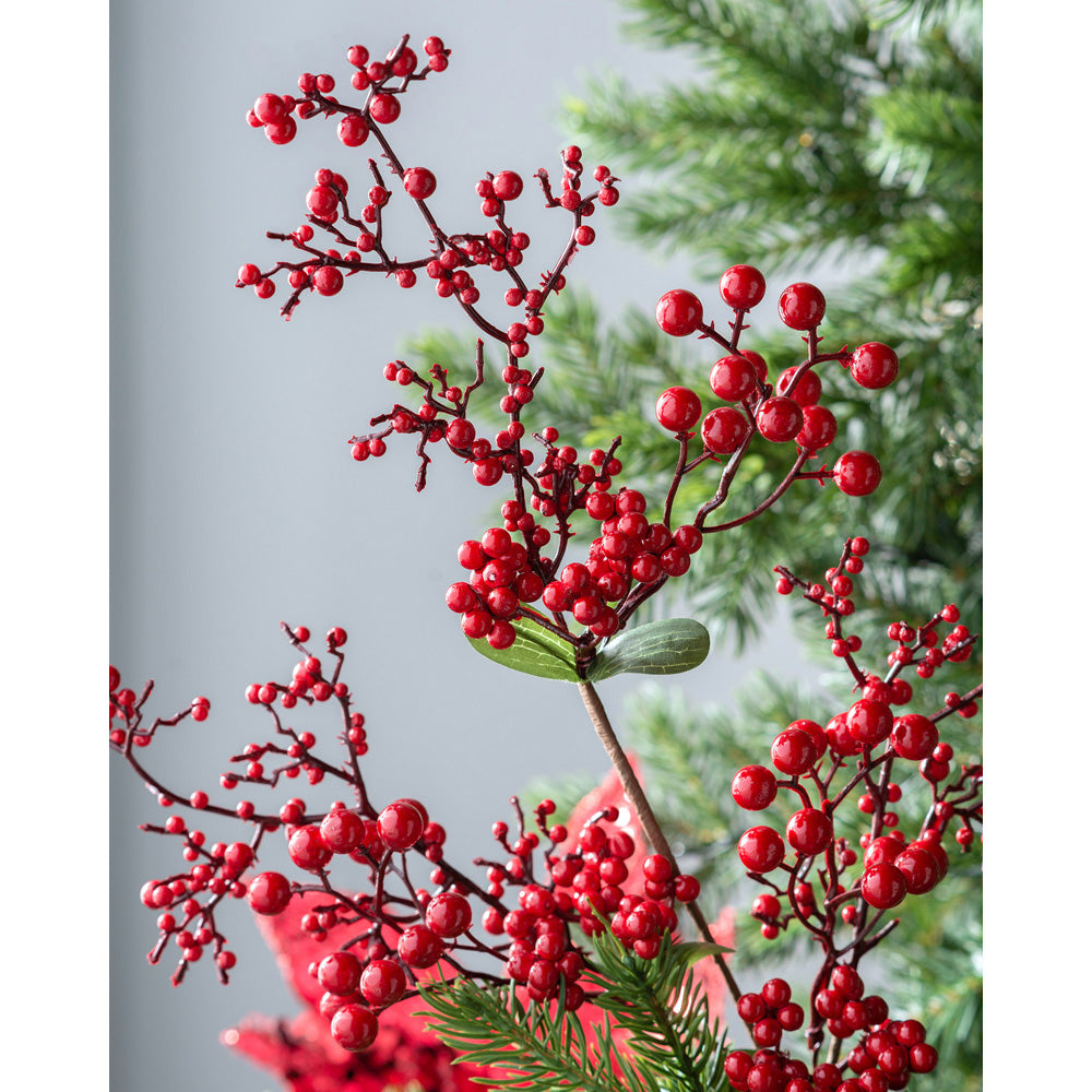 Artificial Berries Pick Christmas Tree Decoration, Long Stem, Red, 62 cm