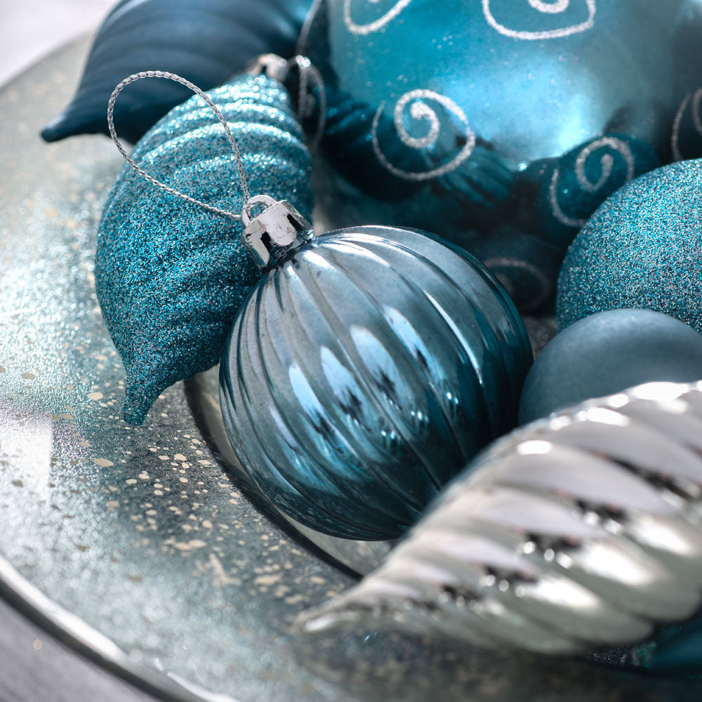 Shatterproof Luxury Christmas Tree Baubles, 75 Piece, Silver/Blue/Teal