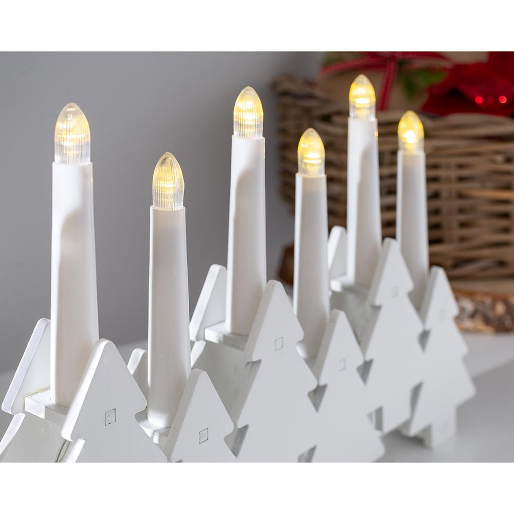 Tree Shaped Candle Bridge with 7 Pre-Lit Candles 32 cm