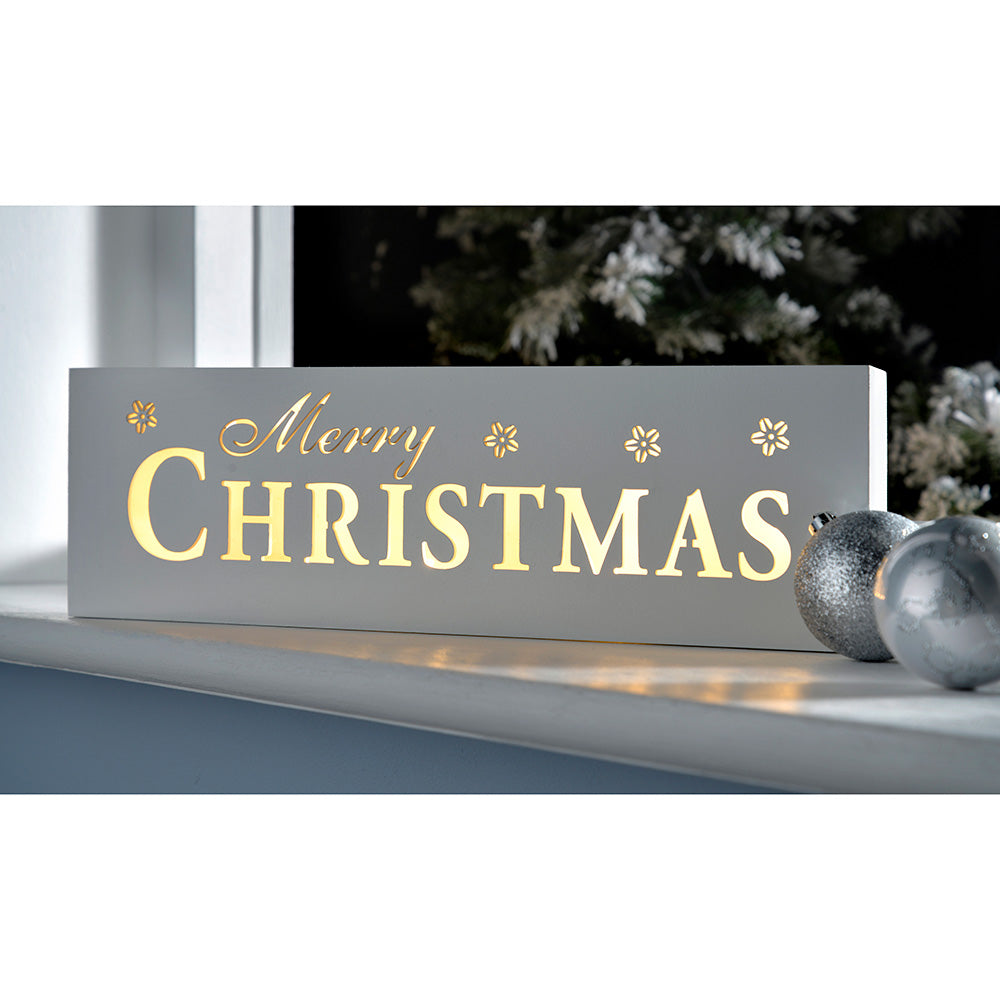 Pre-Lit LED Merry Christmas Sign Decoration, Wood, 38 cm - White