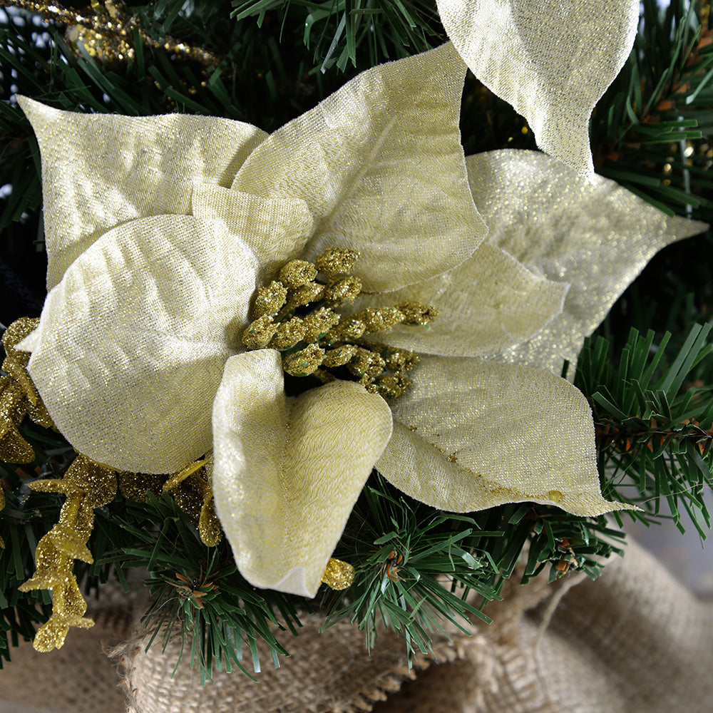 Burlap Base Decorated Christmas Tree, Gold/Cream