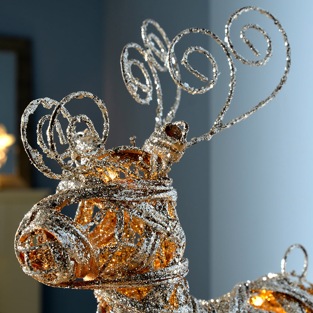 Pre-Lit Silver Woven Rattan Warm White LED Reindeer, Dusting of Glitter, 40 cm