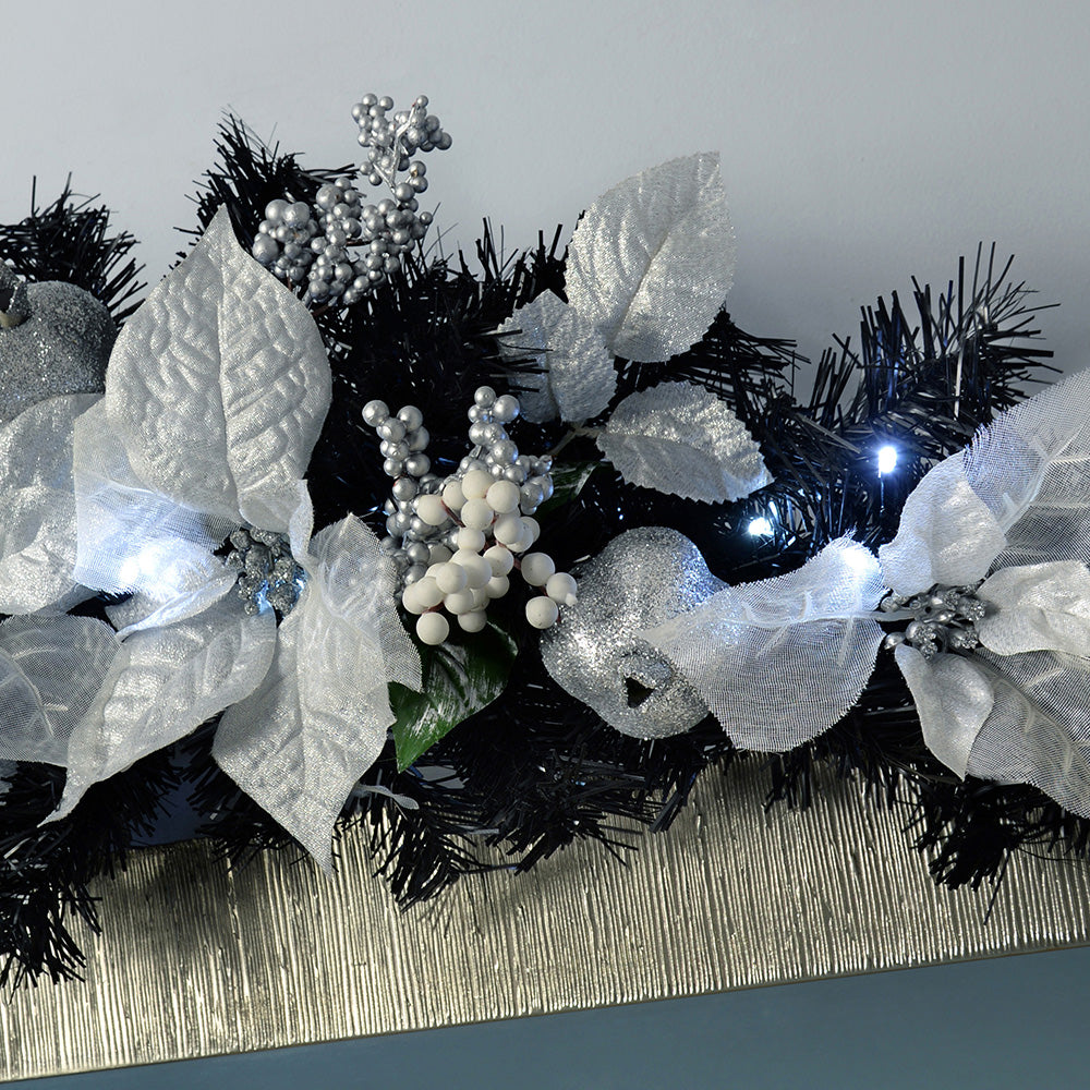 Pre-Lit Decorated Arch Garland Illuminated with 20 Cool White LED Lights, 90 cm - Black/Silver