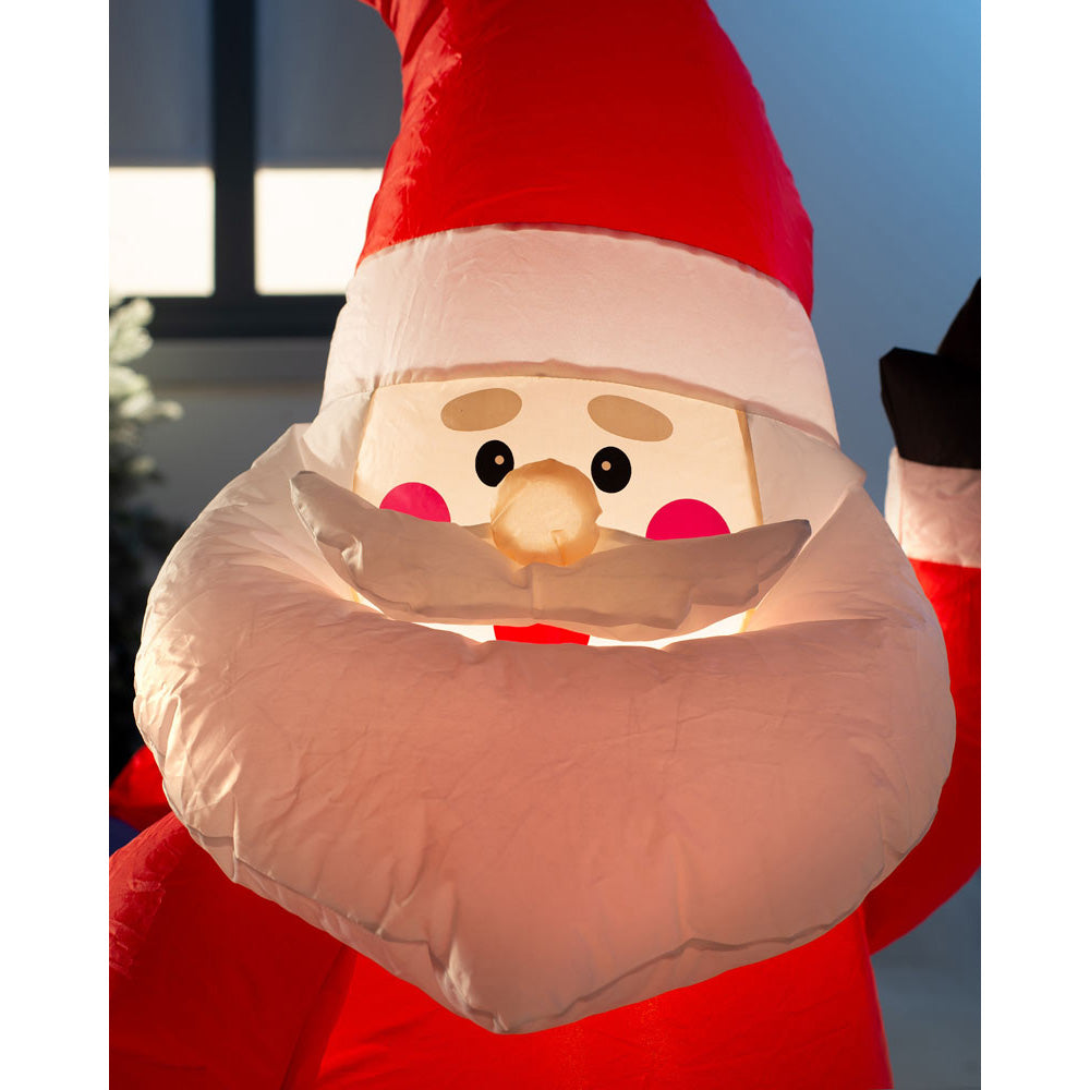 Pre-Lit Inflatable Santa with Reindeer 7 ft / 2.1 m
