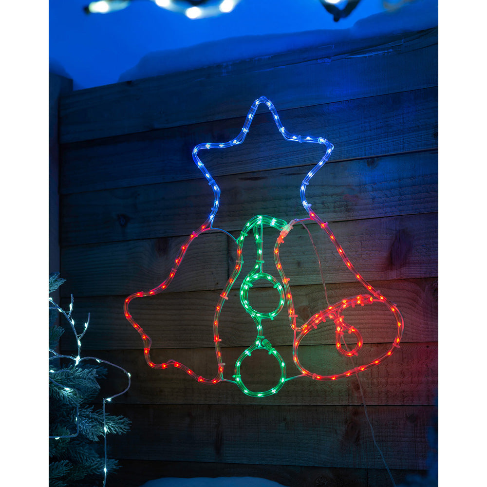 Twin Bell Christmas Rope Light Silhouette Decoration, 128 Multi-Colour LEDs