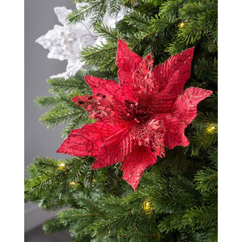 Artificial Poinsettia Christmas Tree Flower Decoration, Red, 34 cm