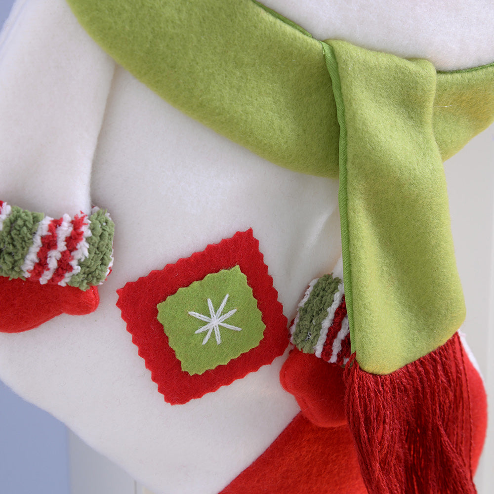 45 cm Christmas Stocking Decoration includes 3D Snowman with Hat and Scarf