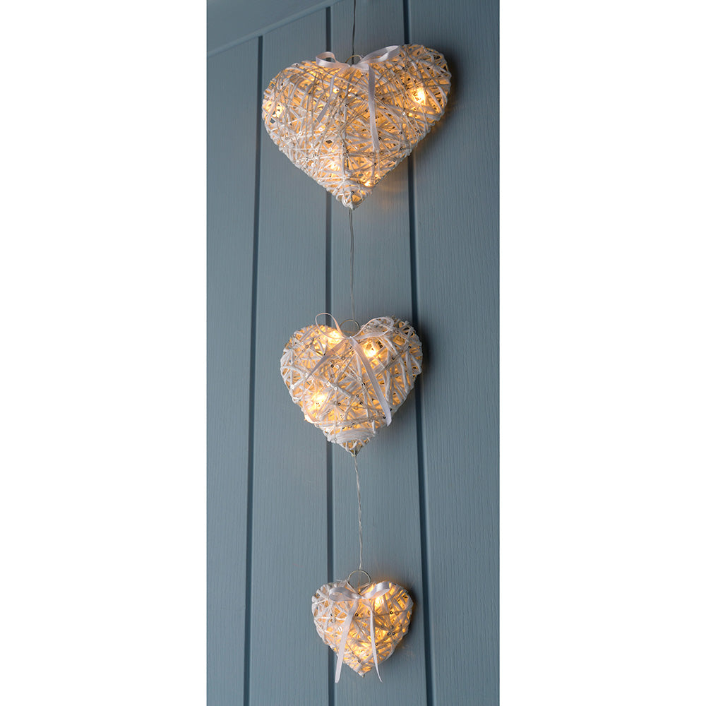 Pre-Lit Hanging Woven Hearts Chain Christmas Decoration, 80 cm - Multi-Colour