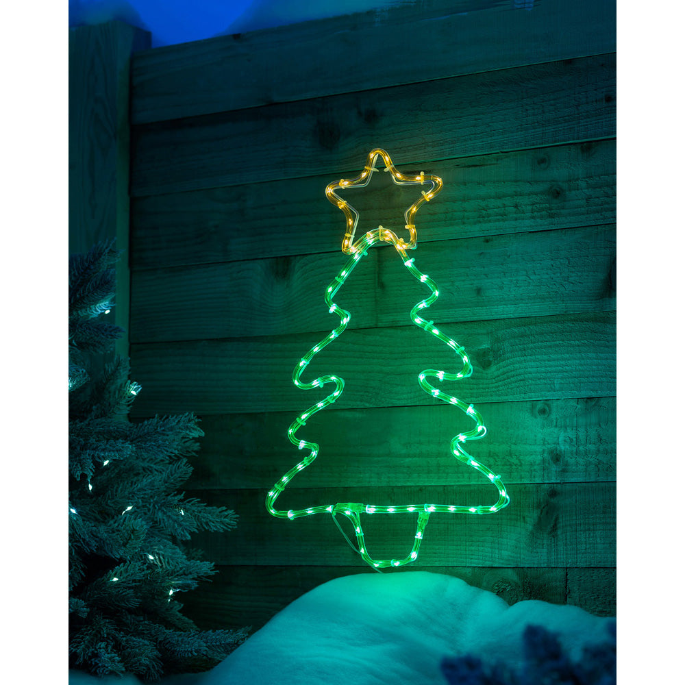 Christmas Tree Rope Light Silhouette Decoration, Green, 48 cm