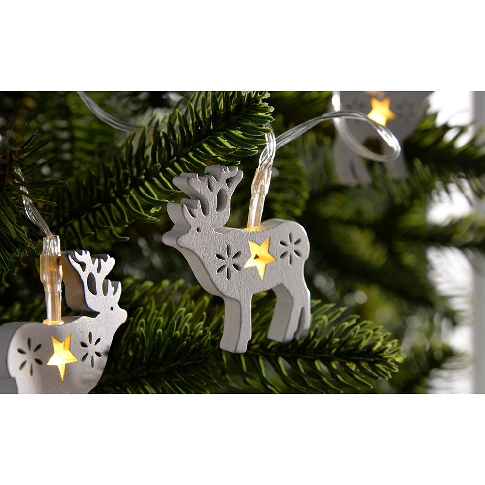 Reindeer Light String Christmas Decoration with 10 Warm LED, Wood - White