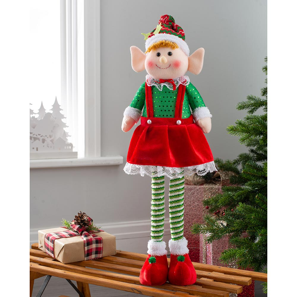 Set of 2 Standing Christmas Elf Decorations, Red and Green, 60 cm