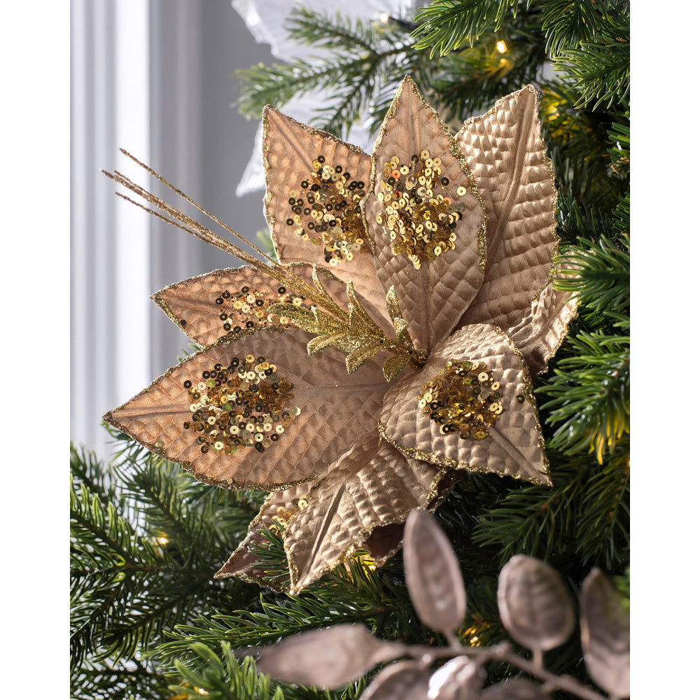 Artificial Poinsettia Christmas Tree Flower Decoration, Gold, 30 cm