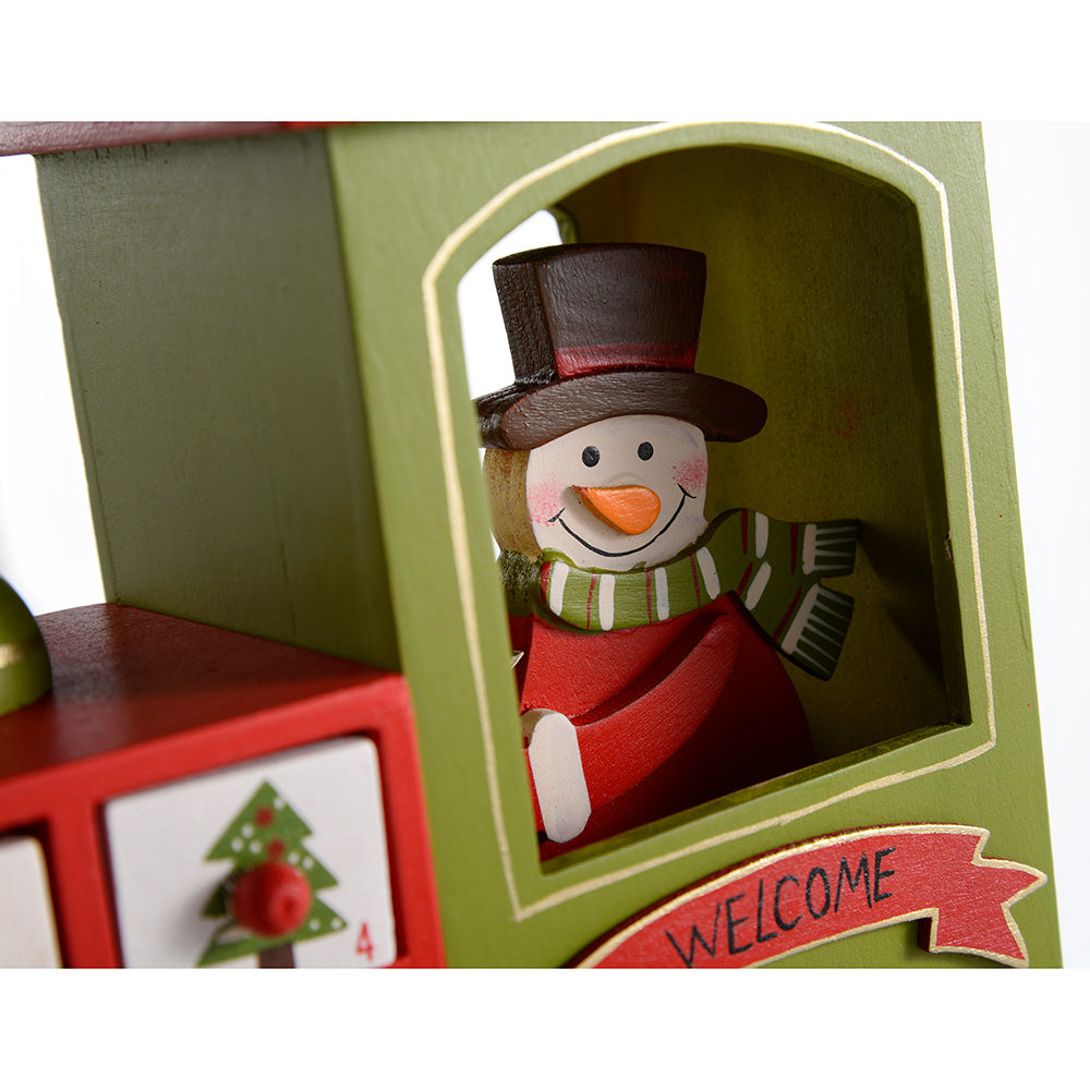 Wooden Train Christmas Advent Calendar, 30 cm - Multi-Colour