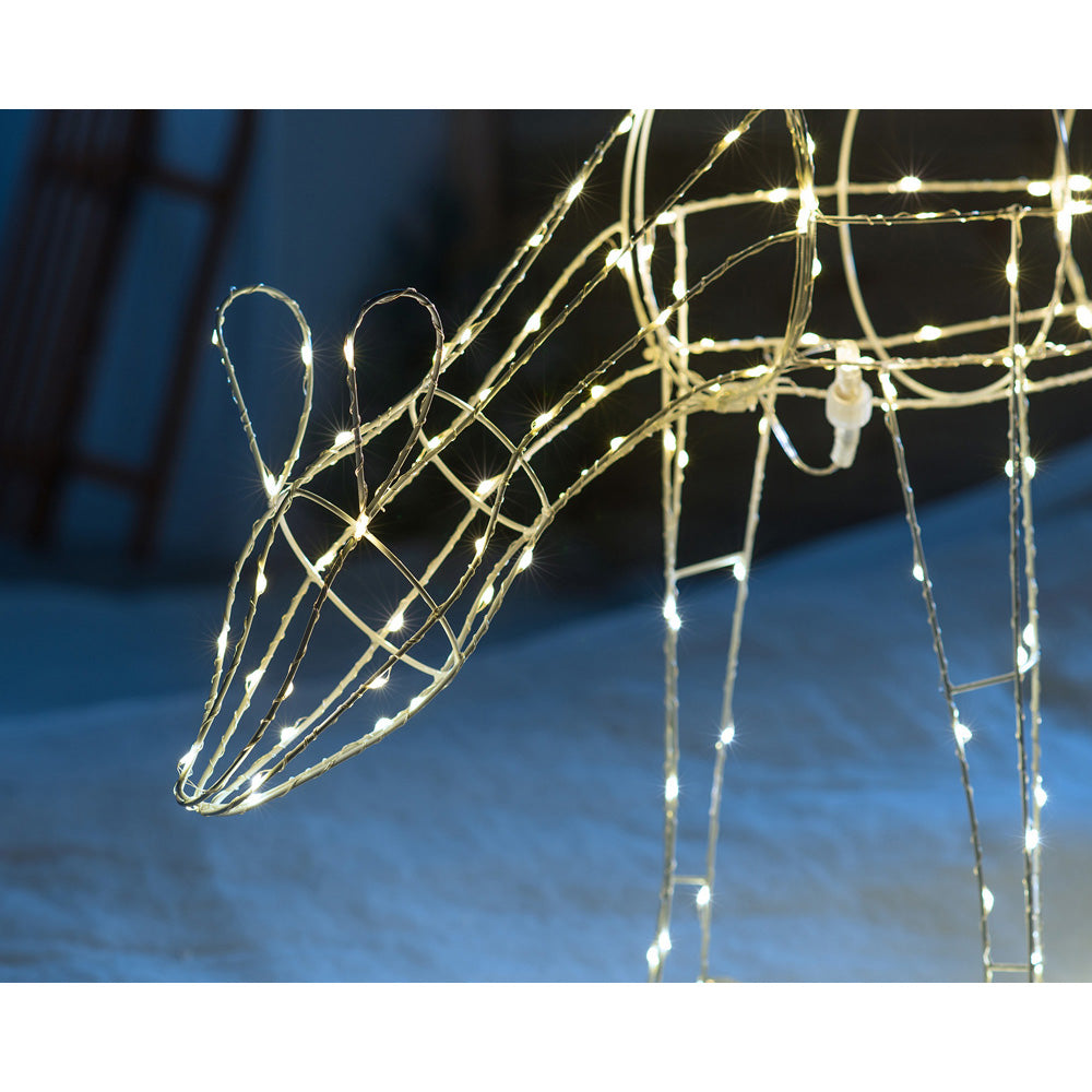 3D Metal Grazing Doe Reindeer Silhouette Christmas Decoration, 200 Warm White LEDs, 80 cm