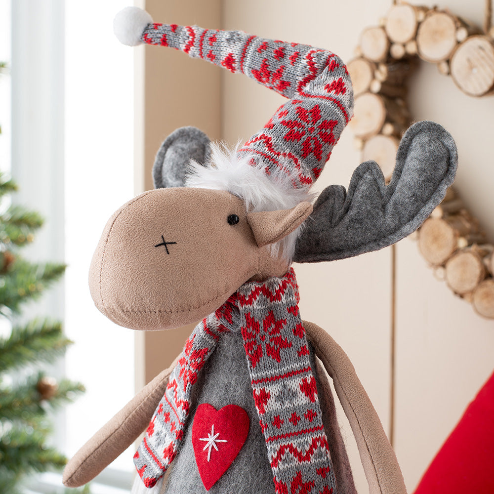 Standing Christmas Reindeer Figurine, Red and Grey, 43 cm