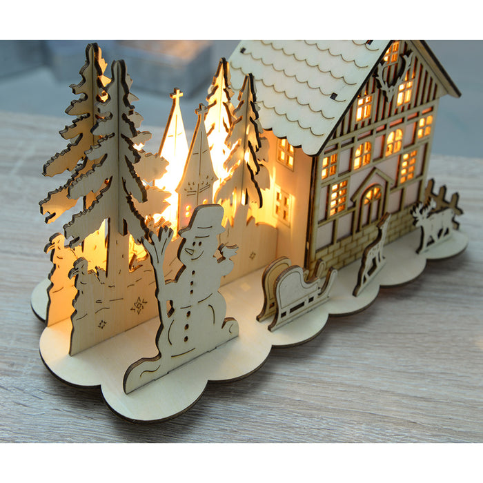 Pre-Lit Wooden House Snow Reindeer Scene with Tree Window, Warm White LED Lights, 28 cm