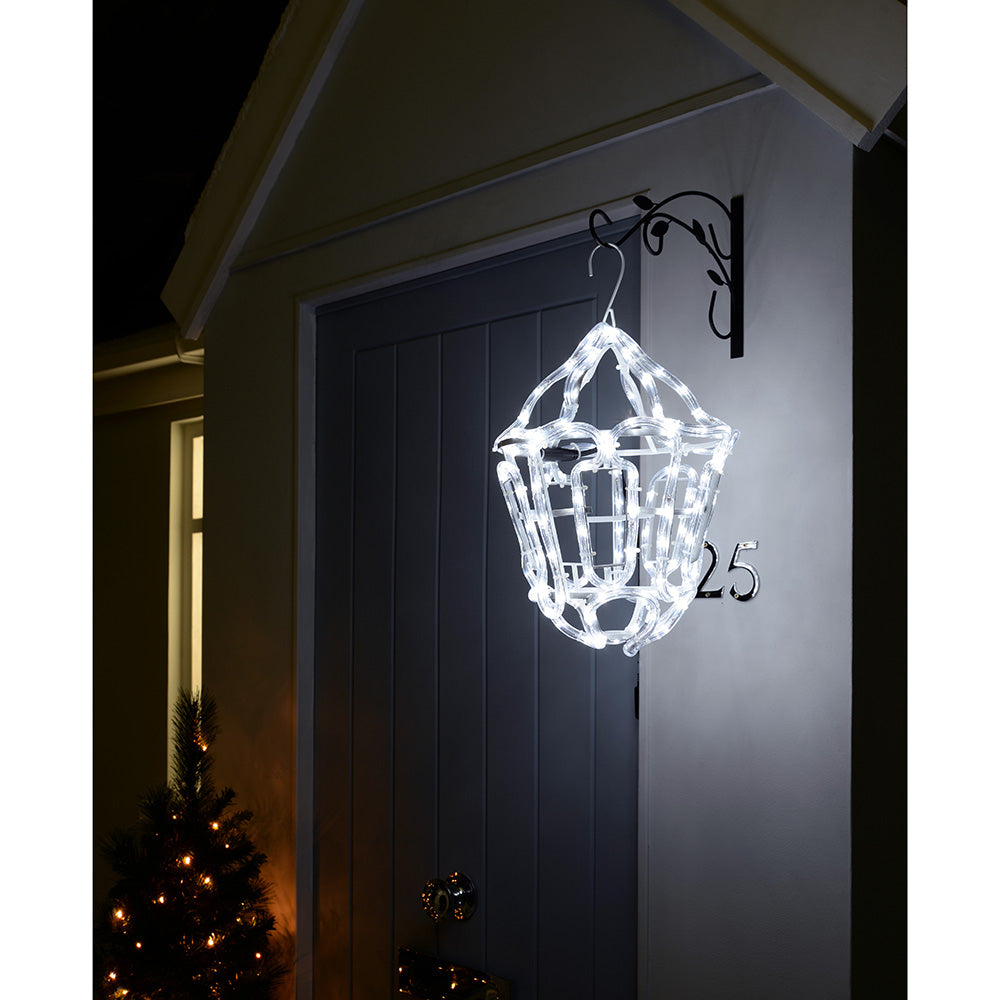 36 cm White LED Hanging Lantern Rope Light Silhouette Outdoor Garden Wall Christmas Decoration