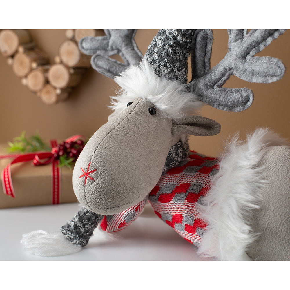 Lying Down Christmas Reindeer Figurine, Red and Grey, 32 cm