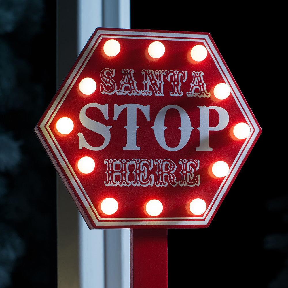 Pre-lit Santa Stop Here Sign - Red, 40cm