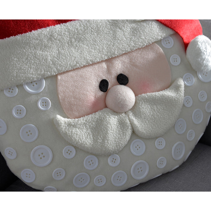 Round Santa Christmas Cushion Pillow, 36 cm - Red
