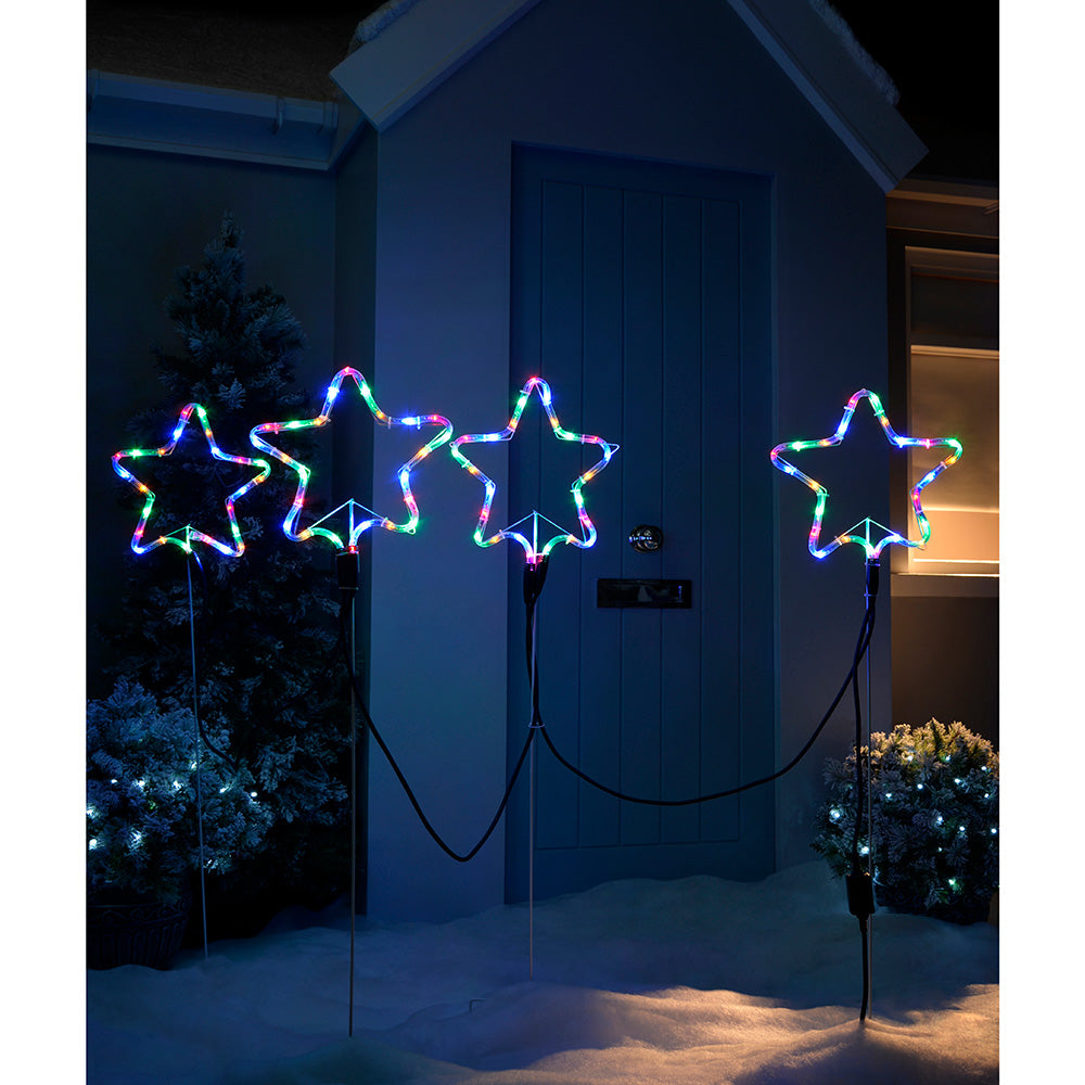 Pre-Lit LED Flashing Star Rope Light Silhouettes, 120 cm - Large, Set of 4