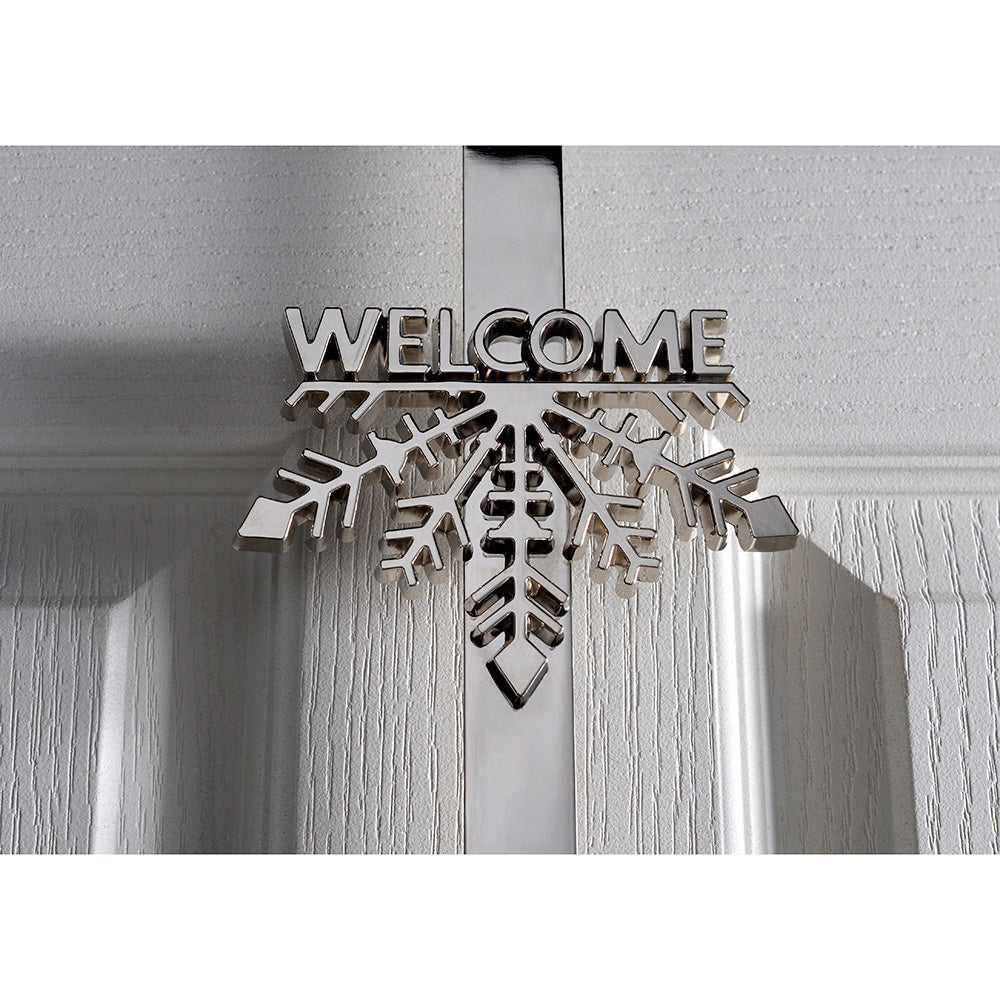 Welcome Snowflake Wreath Door Hook , 37 cm - Silver