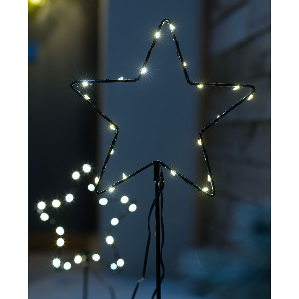 Christmas Star Pathway Stake Garden Light Decorations, 40 Warm White LEDs, Set of 2, 70 cm