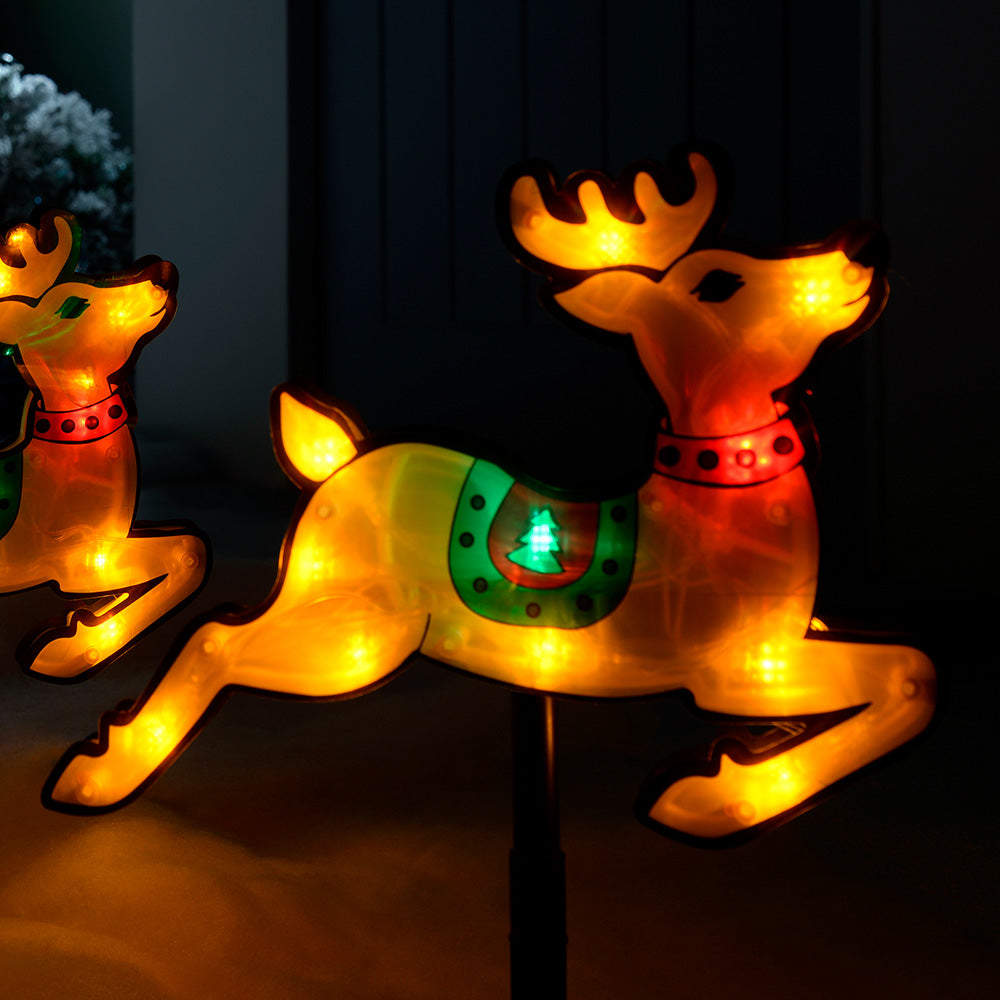 Pre-Lit LED Reindeer Silhouette Pathway Lights, Set of 4