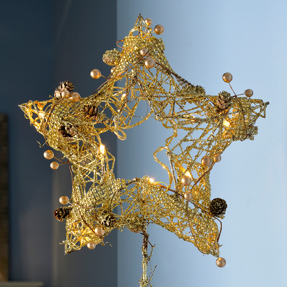 Pre-Lit Rattan Star, Warm White LED with Beads and Pinecones, 60 cm - Gold