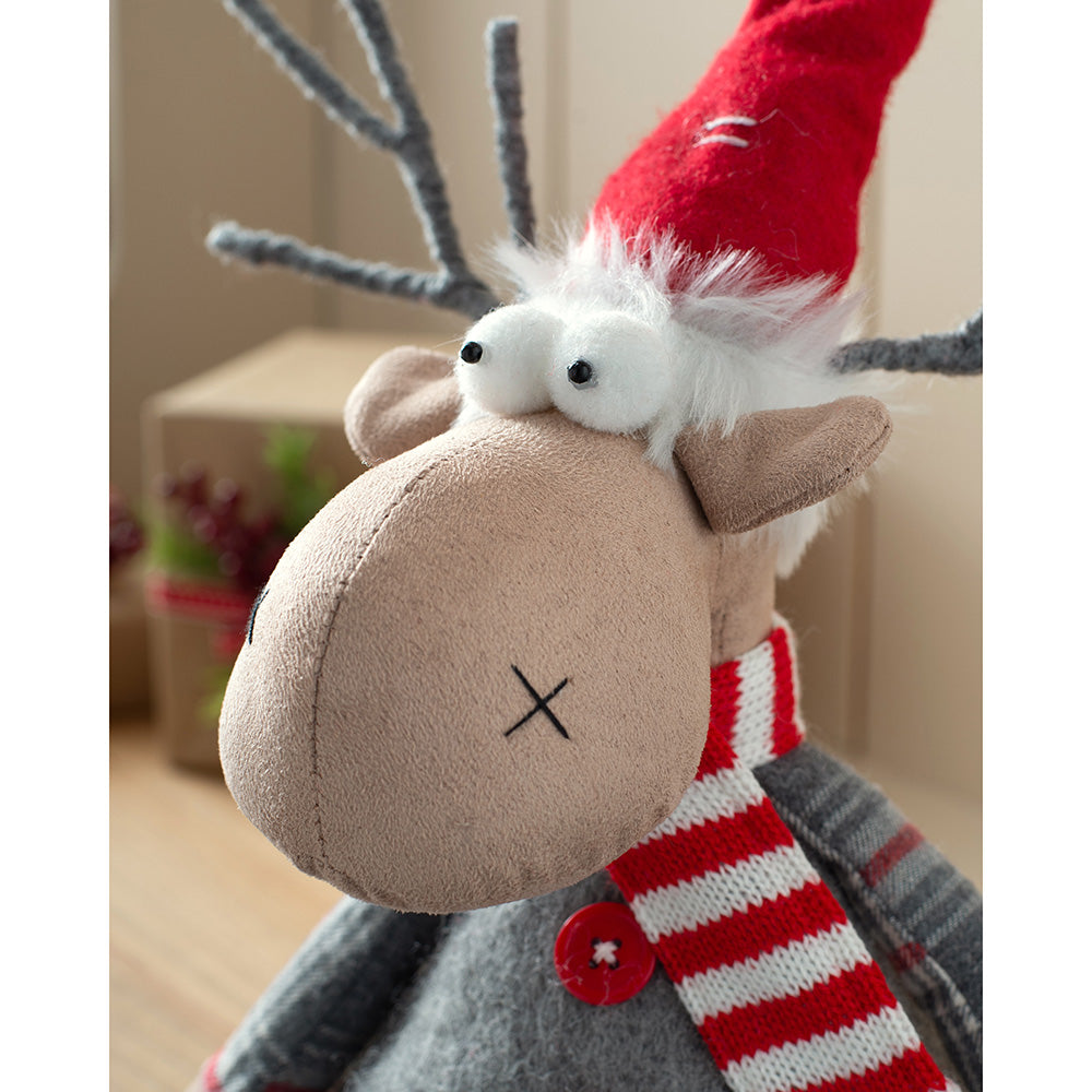Sitting Christmas Reindeer Figurine, Red and Grey, 25 cm