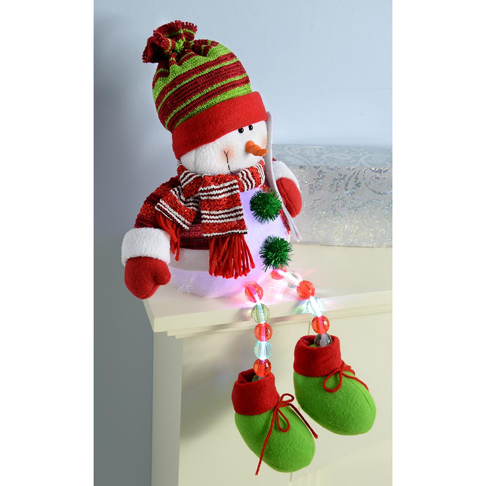 Pre-Lit Novelty Sitting Christmas Decoration with LED Light Up Body and Legs, 48 cm