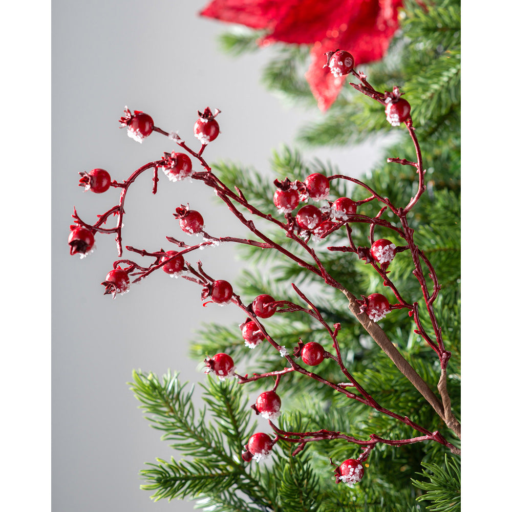 Artificial Berries Pick Christmas Tree Decoration, Long Stem, Red, 57 cm
