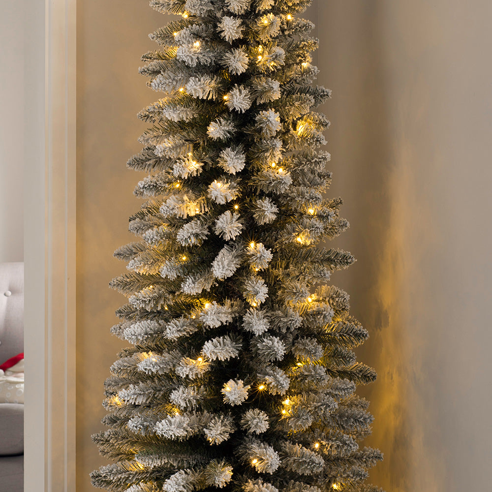 Pre-lit Flocked Pencil Christmas Tree with 180 LED Lights