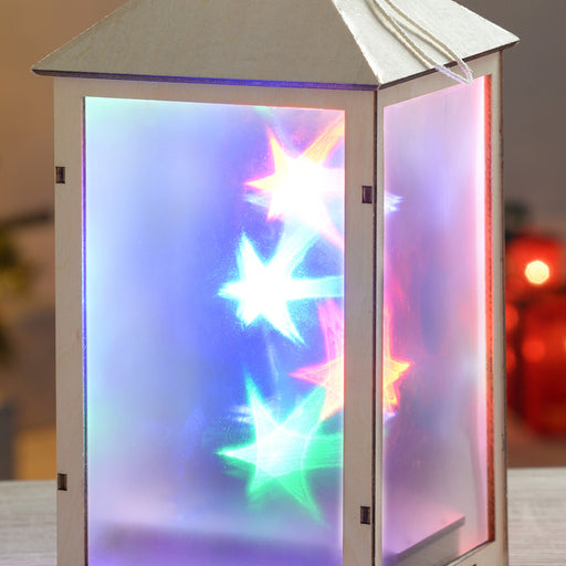 25 cm Pre-Lit Wooden Lantern with Star Effect LED Lights, Multi-Colour