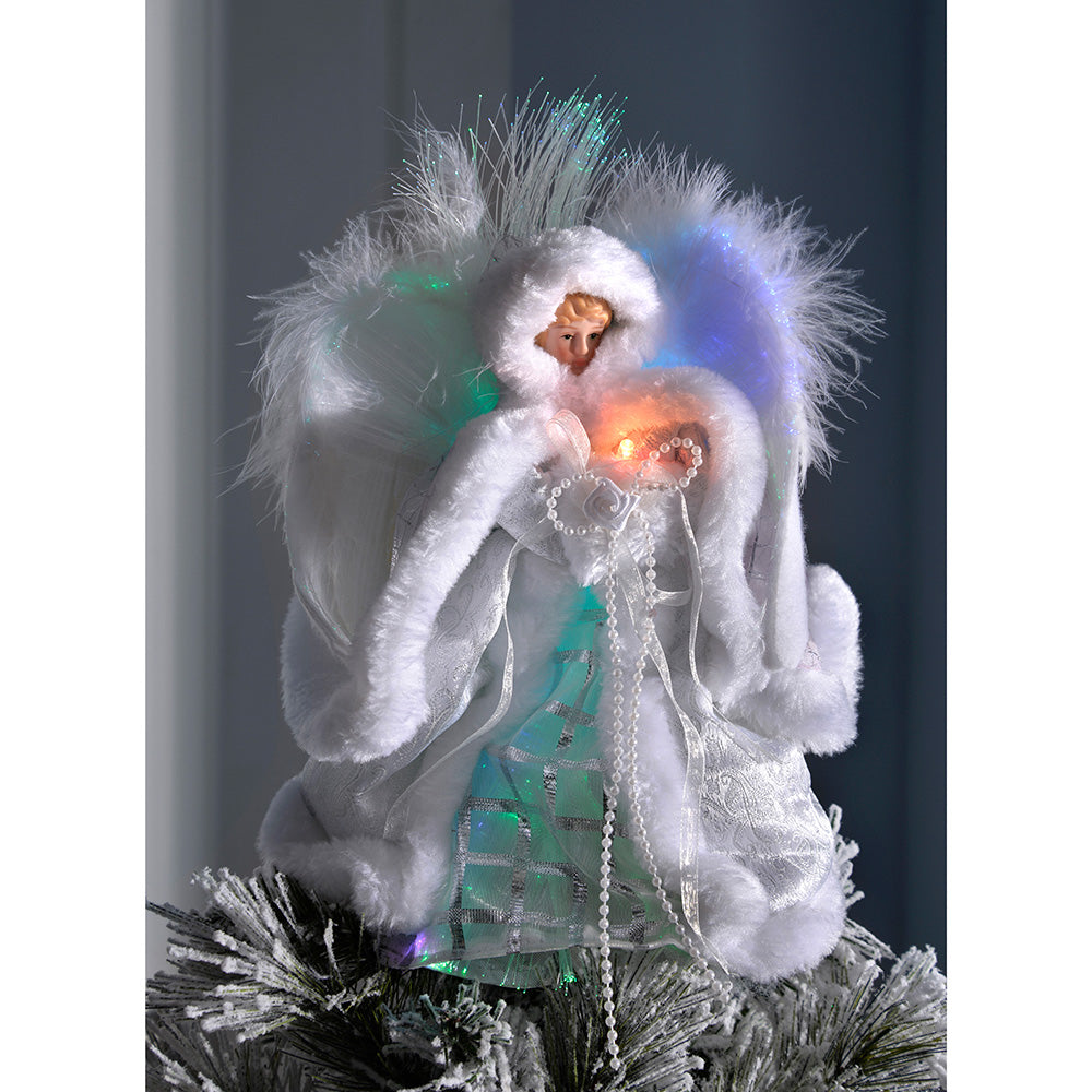 Pre-Lit Fibre Optic Angel Christmas Tree Topper Feather Wings, 25 cm - White/Silver