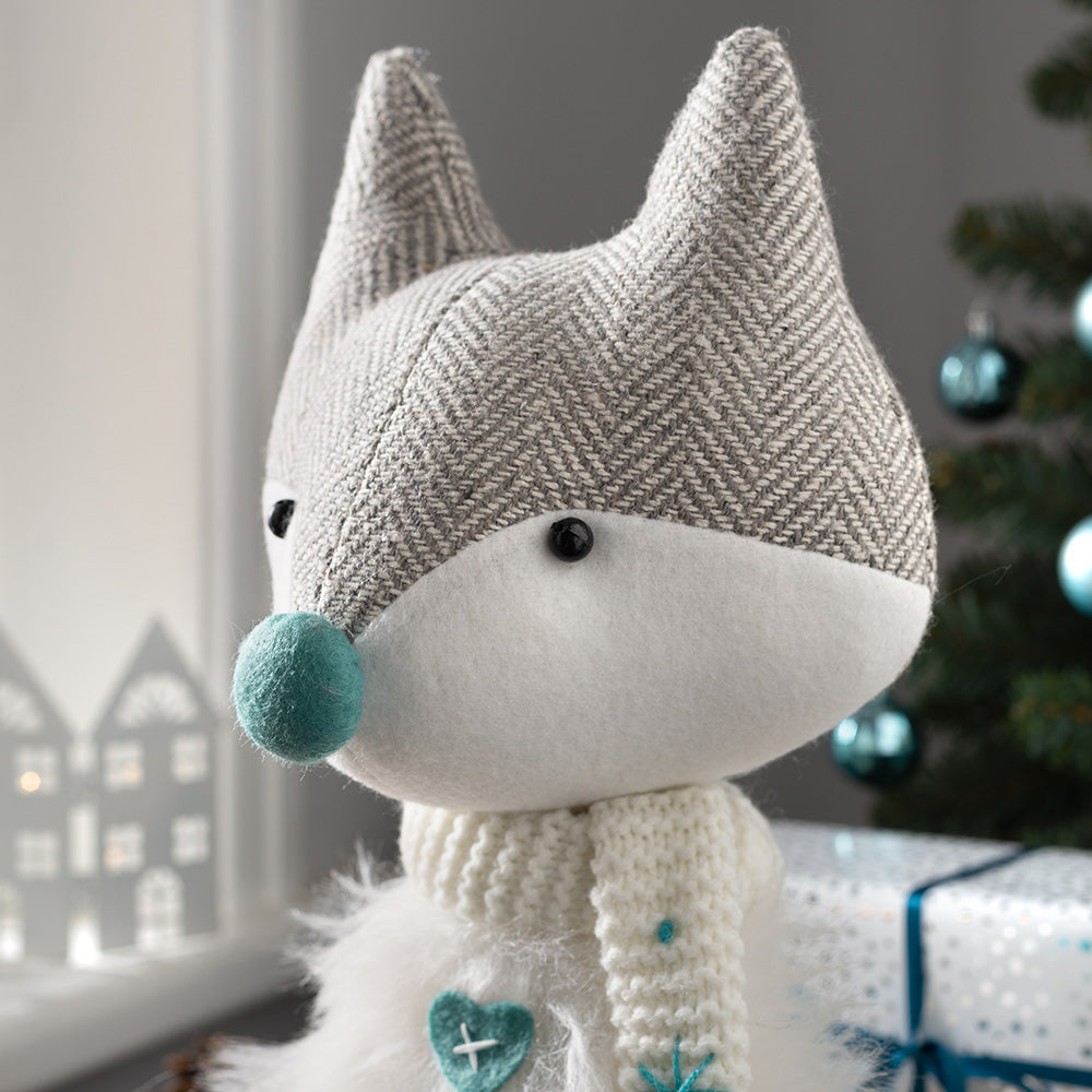 Sitting Christmas Fox Figurine, White and Blue, 35 cm