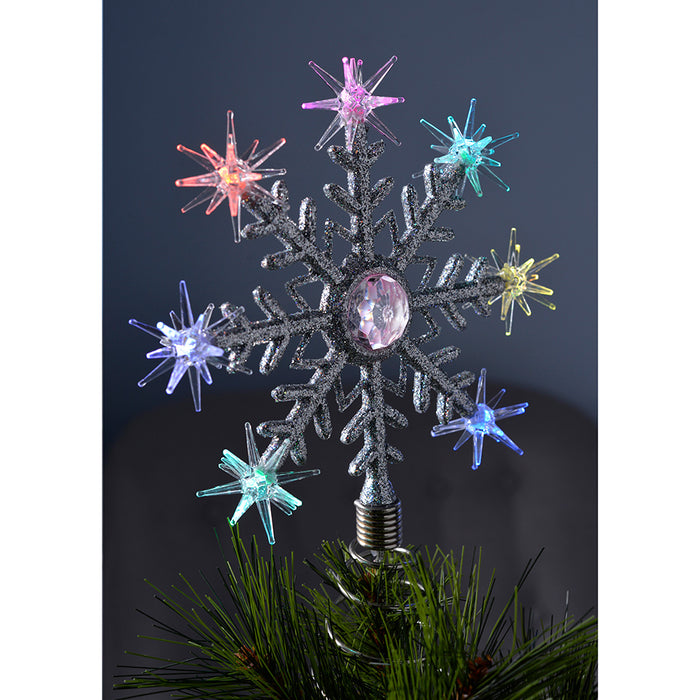 Snowflake Christmas Lights.Pre Lit Snowflake Christmas Tree Topper Decoration With 8 Colour Changing Led Lights 29 Cm