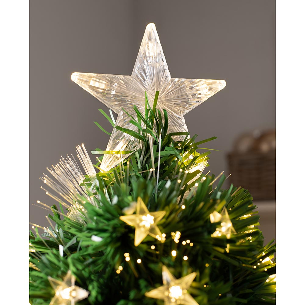 Fibre Optic Pencil Christmas Tree with Warm LED Stars