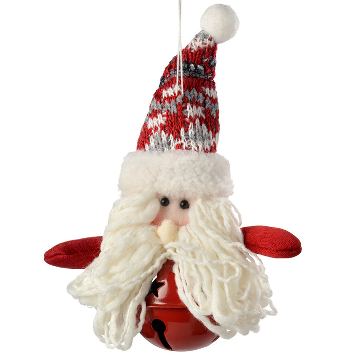 Santa Snowman Hanging Christmas Tree Decorations, Red/Grey, 13 cm, Set of 4