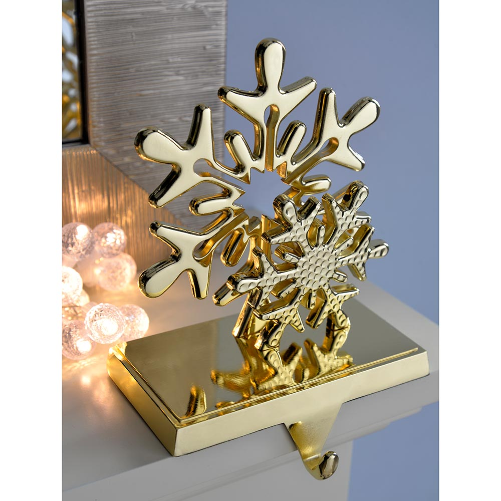 Gold Plated Metal Stocking Holder Decoration