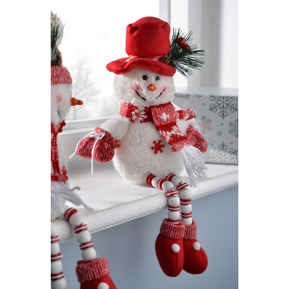 Sitting Snowmen with Button Legs Christmas Decorations, Red/White, 33 cm, Set of 2