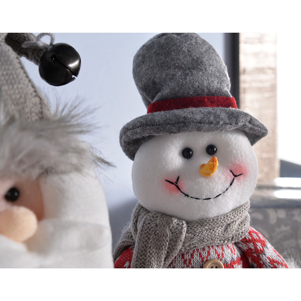 Sitting Santa Snowman Christmas Decorations, Grey/Red, 27 cm, Set of 2