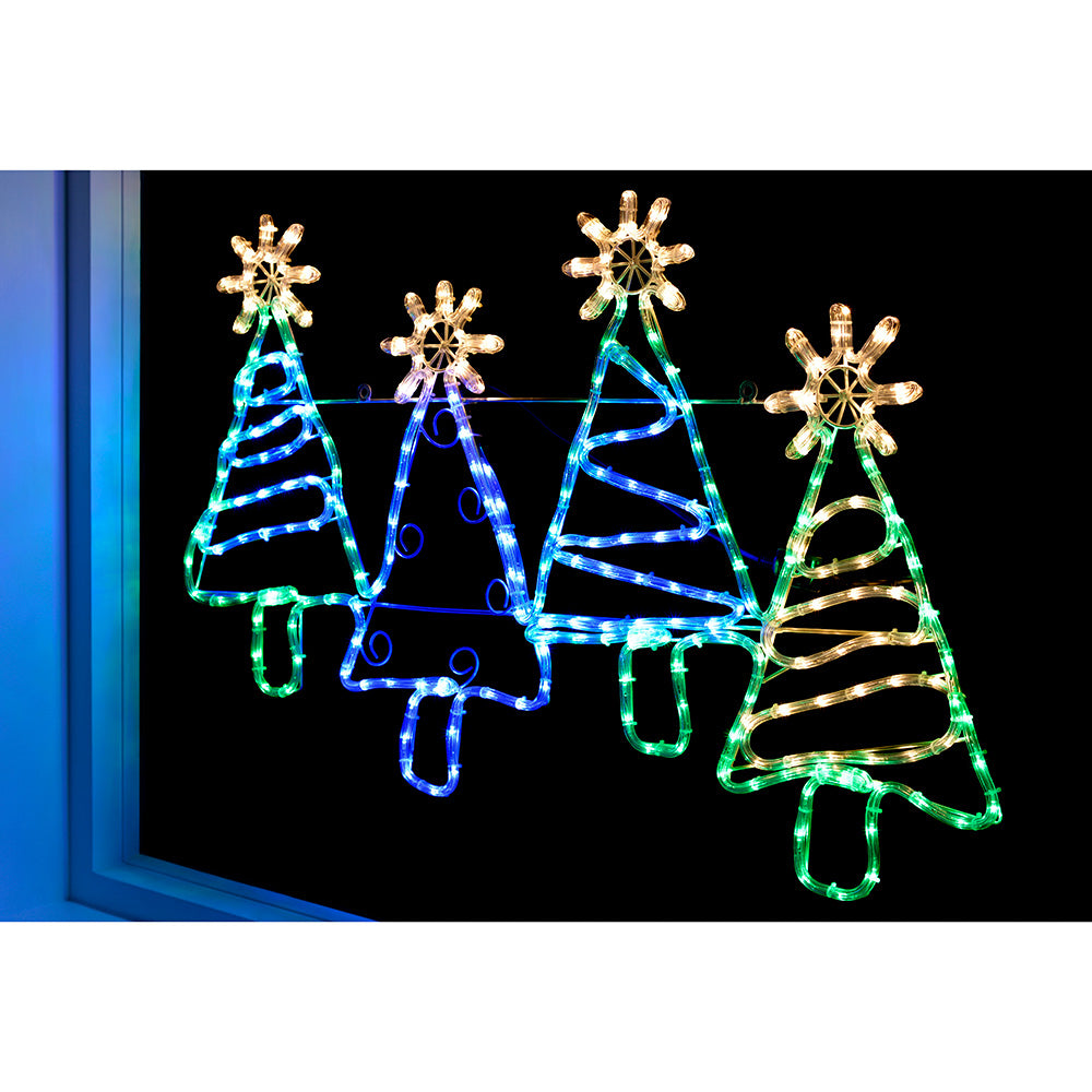 Pre-Lit LED Set of Trees Rope Light Silhouette, 104 cm - Multi-Colour