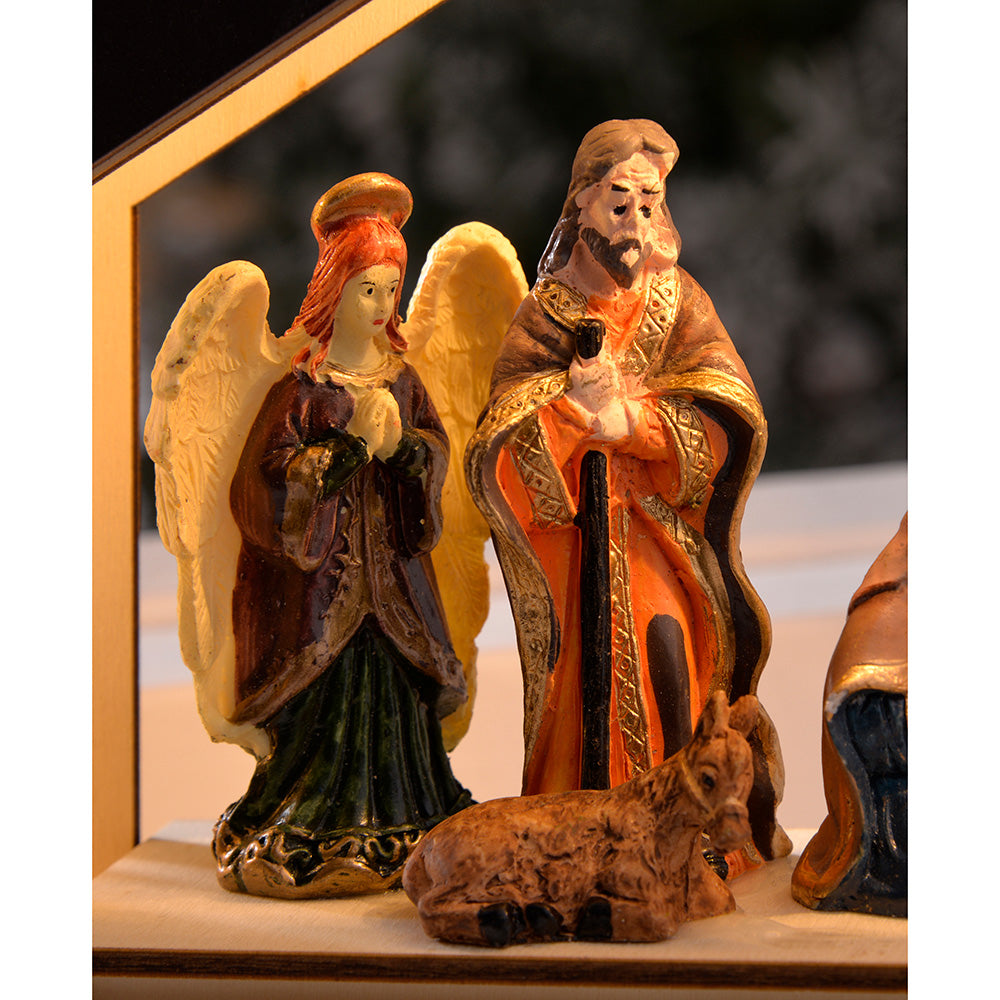 Pre-Lit Wooden Nativity Scene Illuminated with 8 Warm LED Lights, 26 cm - Large, Wooden