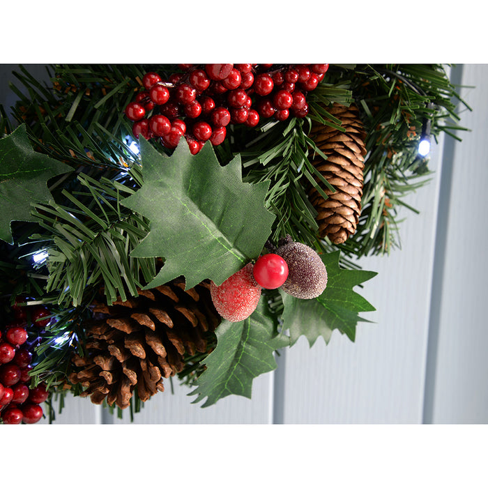 60cm Natural Pine Cone and Berry Decorated Pre-Lit Illuminated with 20 Cool White LED Lights