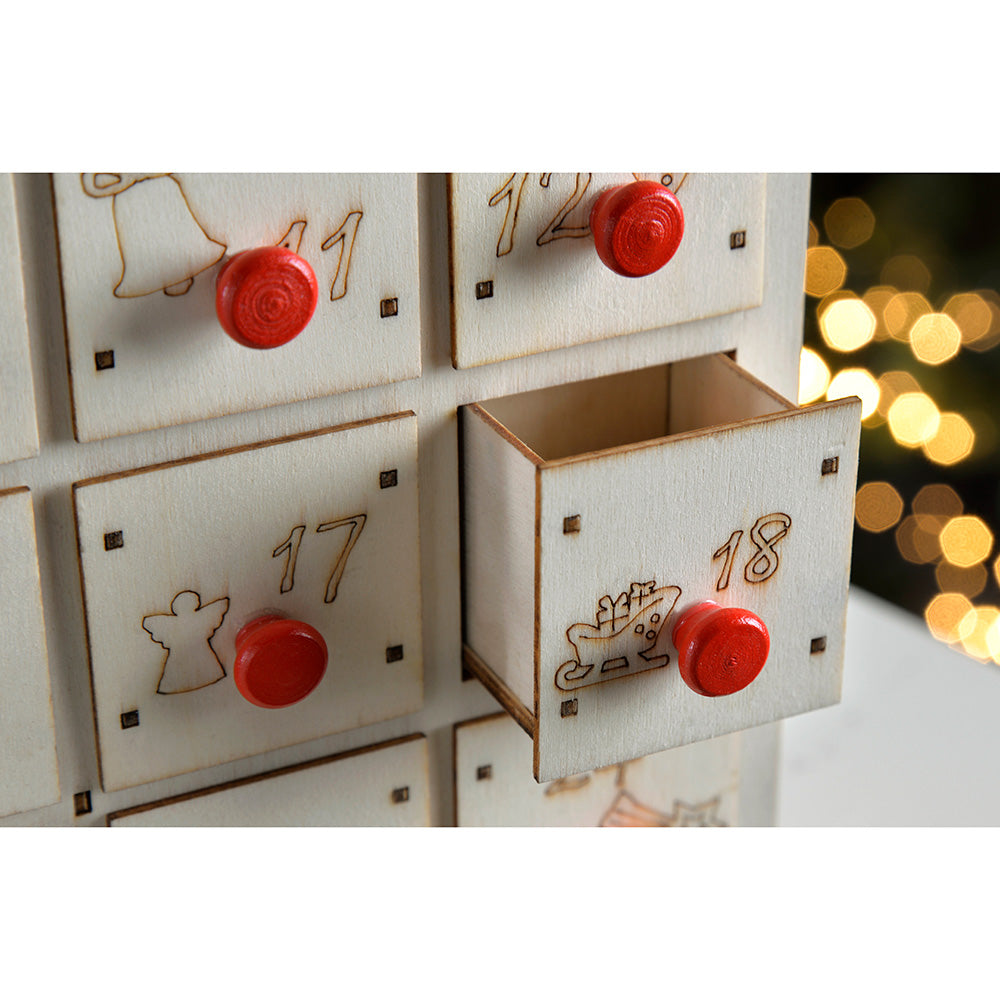 36 cm Pre-Lit Advent Calendar with 24 Pull Out Draws Christmas Decoration