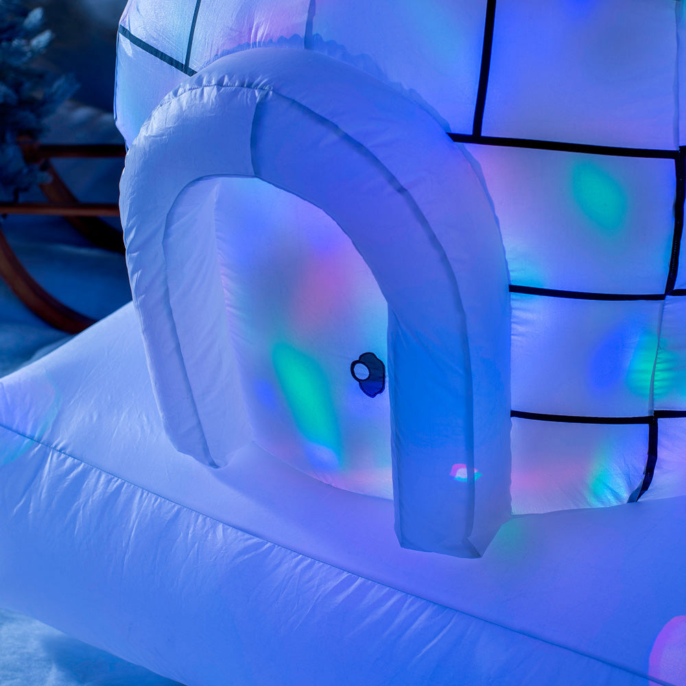 Inflatable Christmas Penguin Family and Igloo Colour Changing Light Decoration, 5 ft